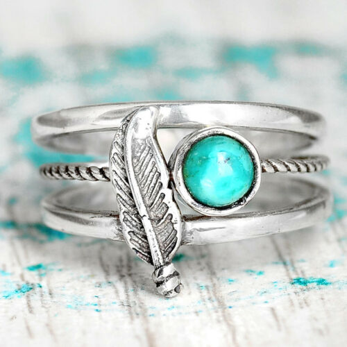 Turquoise Stacking Rings Set Sterling Silver Ring for Women Boho Feather Bohemia