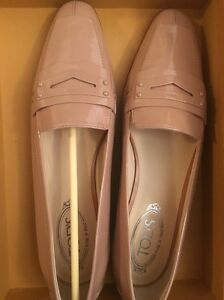 6dbd50356a8cd Details about Tod's 10.5 40.5 Pink Patent Loafer Pointy Toe Ballet Flats  Shoes Driver Moc