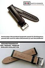 - BOB MARINO Calf Handmade ECHTLEDERUHRBAND Kompatibel mit Breitlinguhr 22-20 mm