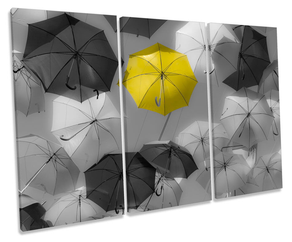 Gelb Umbrella Modern Bild TREBLE CANVAS Wand Kunst Drucken