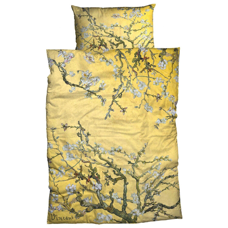 Goebel linge de lit Amandier or VINCENT VAN GOGH Peinture Oeuvre d'Art Arbre Satin
