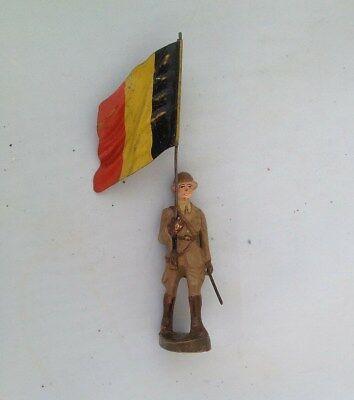 A202/ Kn Figur Belgischer Fahnenträger Von Ca. 1935 / Belgien Freigabepreis