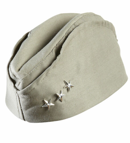 SIDE CAP US ARMY SOLDIER  WW 11 KHAKI MILITARY HAT 3 STAR FANCY DRESS WW2