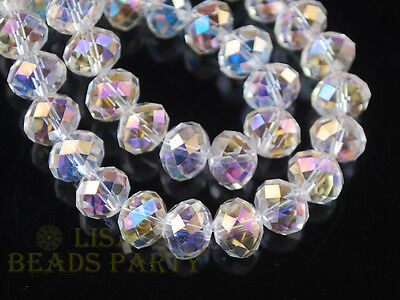 50pcs 8mm Rondelle Faceted Crystal Glass Loose Beads Jewelry Making Findings Lot