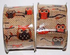 Jute Beige Wired Burlap Ribbon 2 Rolls (2.5 in x 15 ft) Owls Orange Brown