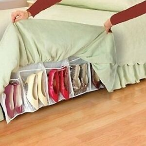 Image Is Loading Bed Skirt Shoe Organizer Hidden Storage System Under