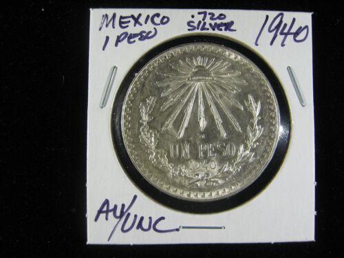 MEXICO 1938 AND 1940 AU//UNC UN PESO 2 COINS