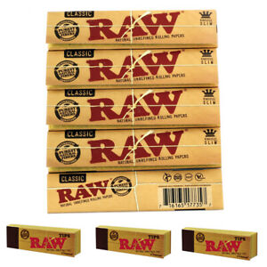 Genuine-RAW-Rolling-Papers-King-Size-Slim-Classic-Unrefined-Skin-RAW-TIPS-FREE