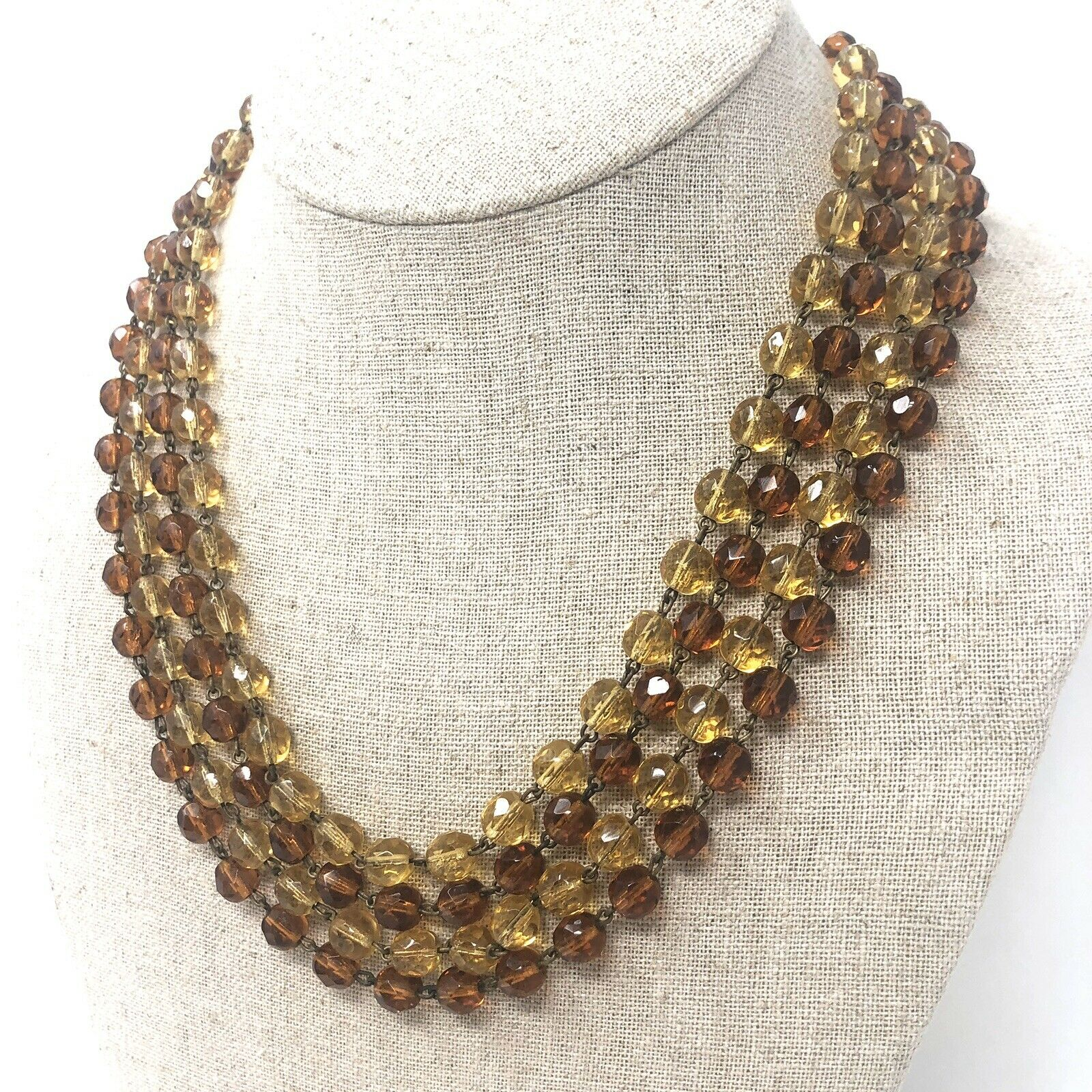 Vintage Art Deco Style Yellow Gold Tone Multi Strand Line Link Glass Beads Necklace Jewelry K#4