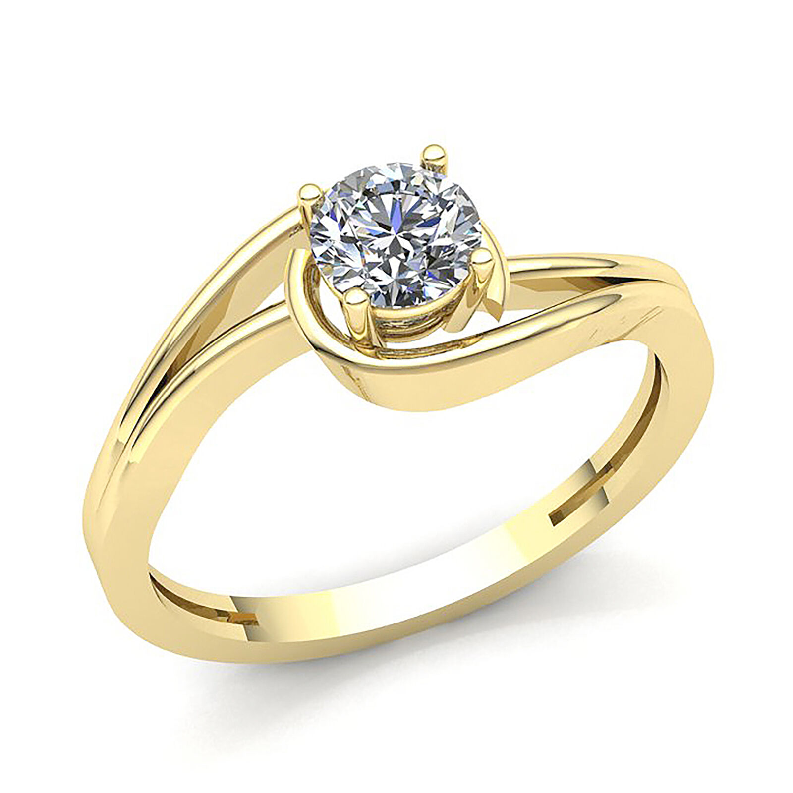Genuine 0.6ct Round Diamond Women's Bridal Solitaire Engagement Ring 10K gold