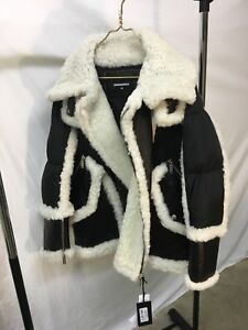 fdcef10d77 Details about Dsquared2 shearling fur leather puffer jacket. Brand New with  tags Rare Size 46