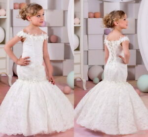 2019 Hot Mermaid Lace Flower Girl Dresses for Weddings Girls Pageant Prom Gowns