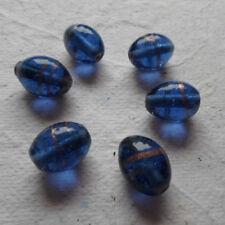 10 HANDMADE INDIAN LAMPWORK GLASS BEADS ~ 15mm Blue Rice Beads ~ 69
