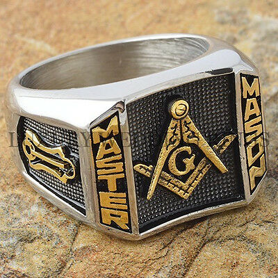 Blue Lodge 3rd Degree Men Masonic Ring Square G Master Mason Gold Tone Size 9-15