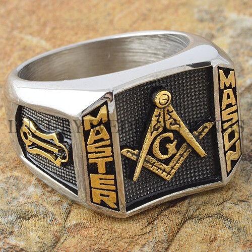 Blue Lodge 3rd Degree Men Masonic Ring Square G Master Mason Gold Tone Size 9-15