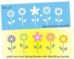 image is loading joanie stencil happy joy spring flower garden border - Prim Garden