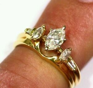 Wedding-Band-Bridal-Ring-Set-1-25-Ct-Marquise-Cut-Diamond-14k-Yellow-Gold-Finish
