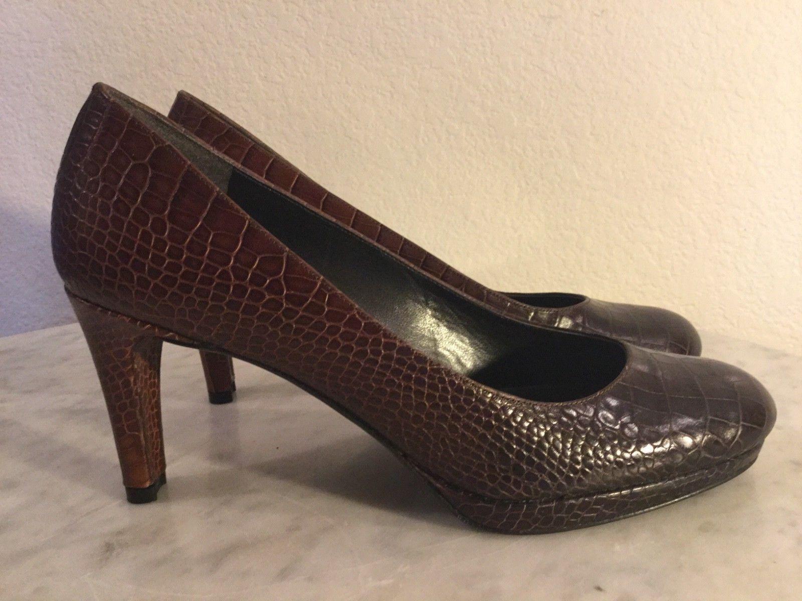 per offrirti un piacevole shopping online STUART WEITZMAN  Blog  Marrone Leather Croc Croc Croc Embossed Pump Wm Sz 7 1 2 M. Spain.  grandi offerte