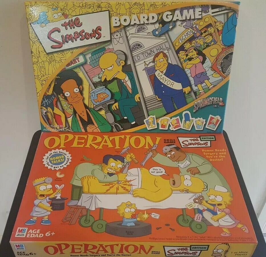 THE SIMPSONS ESITION BOARD GAME & OPERATION SKILL GAME MB COLLECTABLE SETS