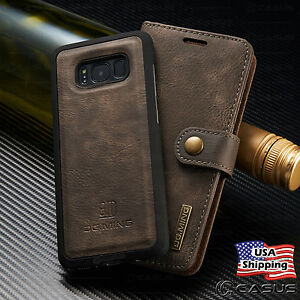 info for 1a523 37dc5 Details about Galaxy S9/S8+/S7/Note 8 Leather Removable Wallet Magnetic  Flip Card Case Cover