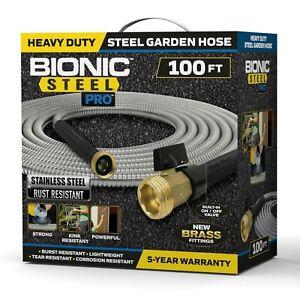 Bionic Steel PRO - Heavy Duty 304 Grade Stainless Steel Metal Garden Hose - 100'