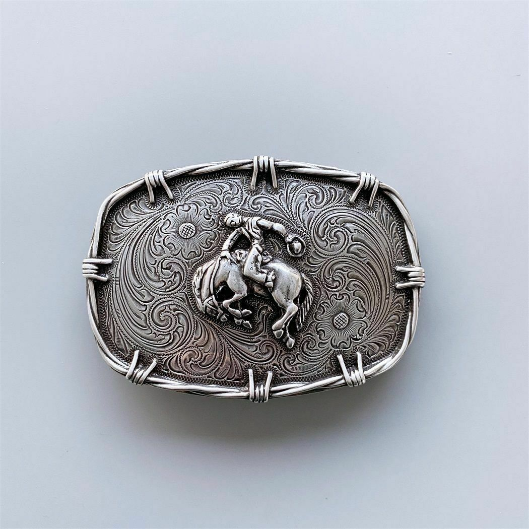 Western Cowboy Horse Rodeo Wire Rectangle Vintage Style Belt Buckle