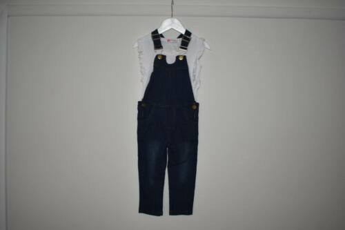 girls blue dungarees with white t-shirt summer top 2 piece set 3-6 years