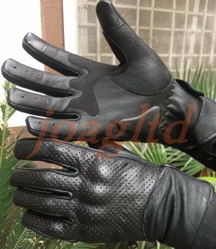 MENS PERFORATED CARBON SHELL KNUCKLE VENTED MOTORBIKE MOTORCYCLE LEATHER GLOVES S