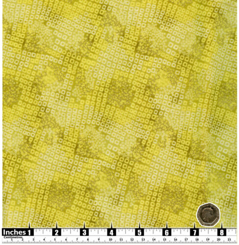 Quilting Fabric Lime Green Cream Small Squares Gold Met 100/% Cotton FQsYP3