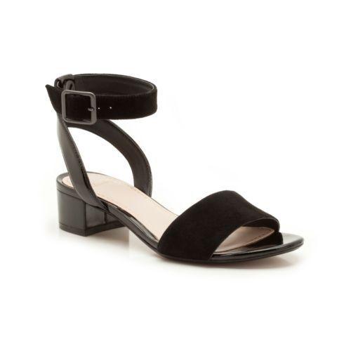 Clarks Black Suede Patent Leather Ankle Strap Low Block Heel Sandals Sz 4 Wide