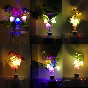 LED-Night-Romantic-Flower-Mushroom-Light-Sensor-Baby-Bed-Room-Lamp-Decor-US-Plug