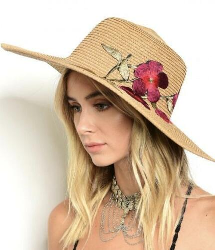 Off White Embroidered Floral Detail Beach Sun Straw Hat