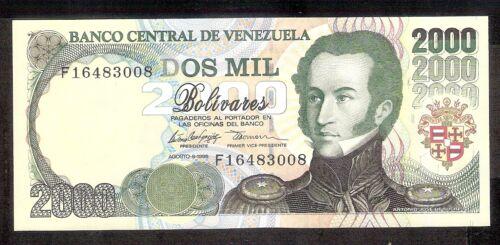 Venezuela UNC Note 2000 Bolivares Bs August 1998 P-77c Prefix F8