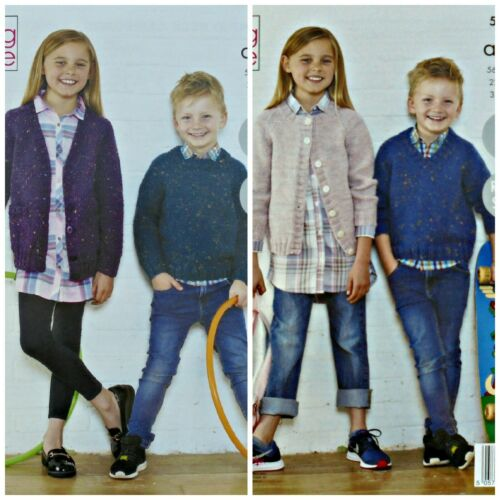 KNITTING PATTERN Childrens Easy Knit Cardigans and Jumpers Aran King Cole 5542