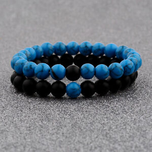 2Pcs Hot Unisex Distance Bracelet Couple His Hers Black Lava Beads Orange Agate