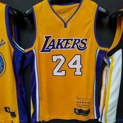 Kobe Bryant 24# Jersey Schwarz Weiß Edition Los Angeles Laker Herren Weste Neu