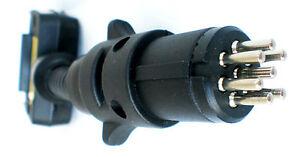Trailer-Adaptor-7-Pin-Flat-Plug-to-7-Pin-Small-Round-Plug-amp-Blue-Flashing-LED