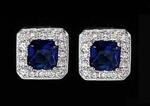 925-ECHT-SILBER-RHODINIERT-Ohrstecker-8x8-mm-Zirkonia-saphir-blau