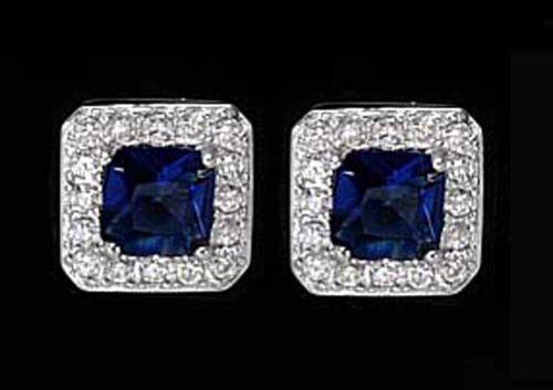 Zirkonia saphir blau 925 ECHT SILBER RHODINIERT *** Ohrstecker 8x8 mm