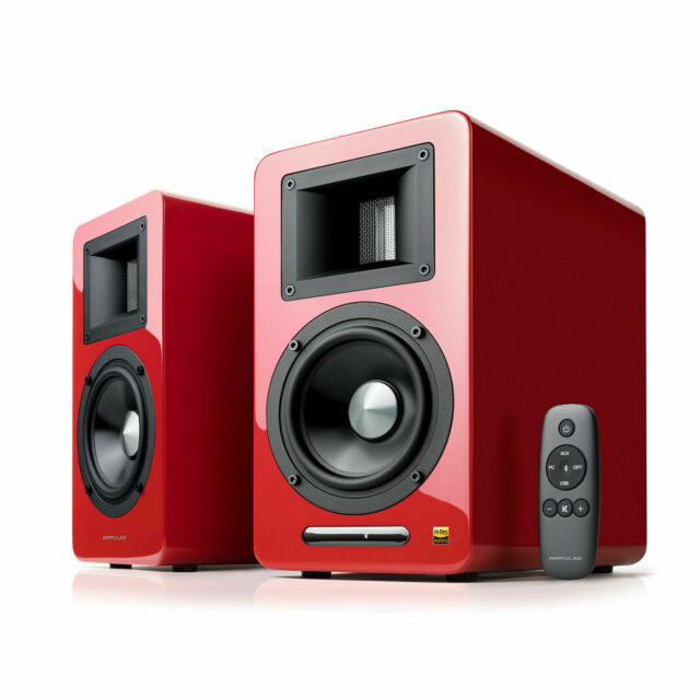 AirPulse A100 Hi-Res Audio Certified Active Speaker System (1 Pair) - Red
