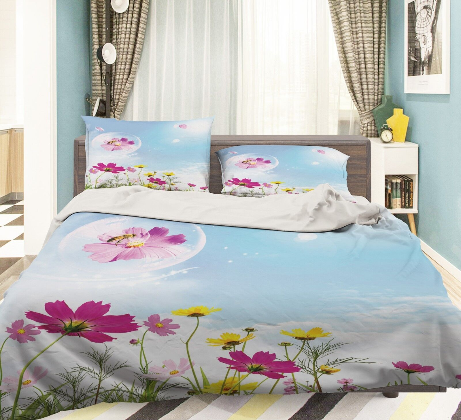 3D Sky Wildflowers 6 Bed Pillowcases Quilt Duvet Cover Set Single King UK Summer