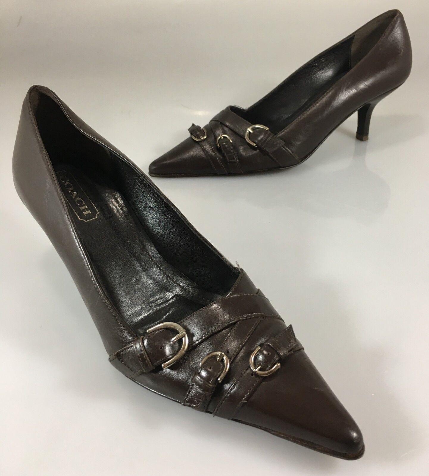Entrenador De Mujer 7B Marrón Cuero 2.5  Tacones Zapatos Zapatos Zapatos De Salón Tacones Gatito hebillas de níquel  tienda en linea