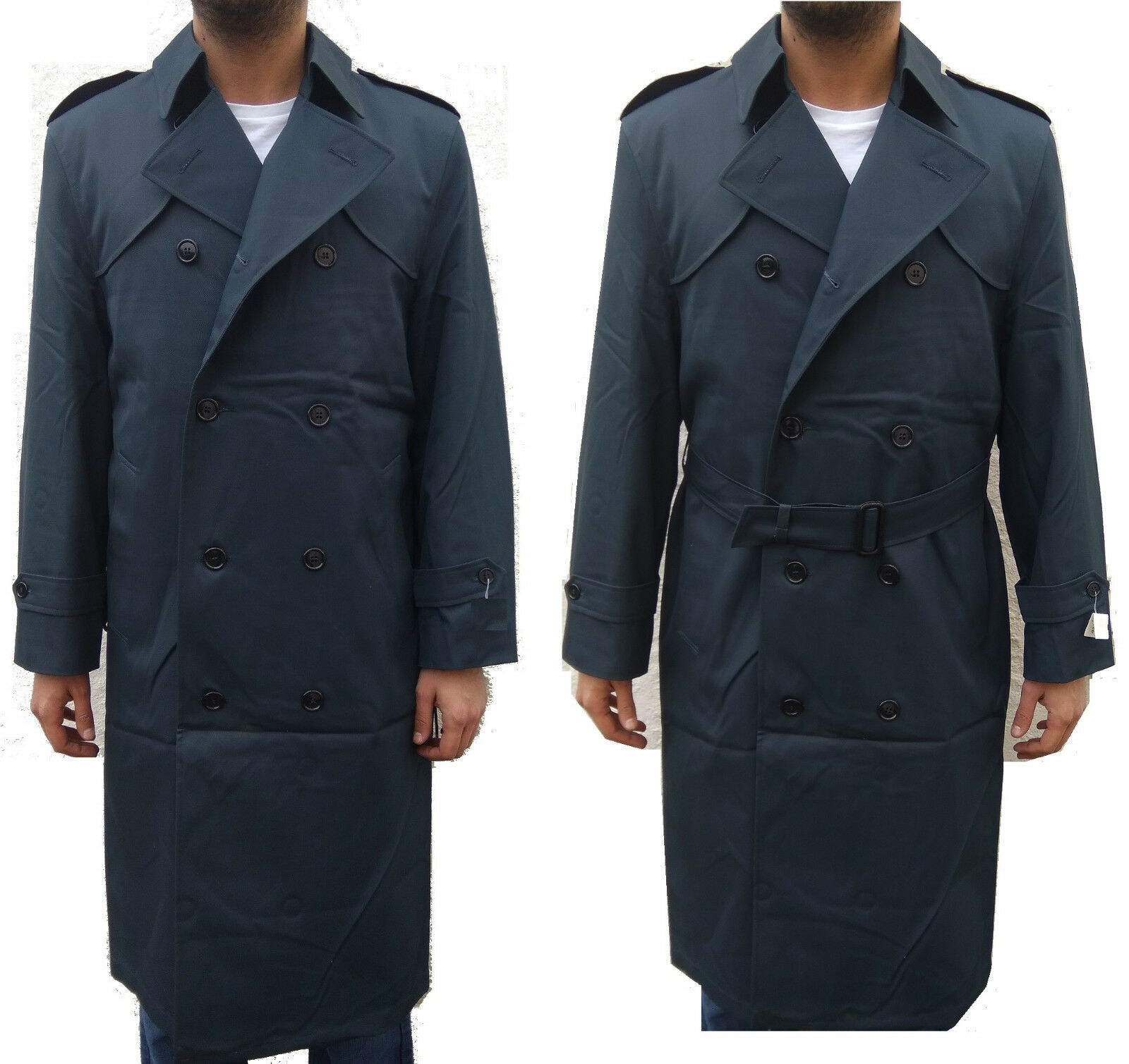MENS MILITARY REEFER VINTAGE TORCHWOOD PEACOAT TRENCH COAT DOUBLE BREASTED L XL