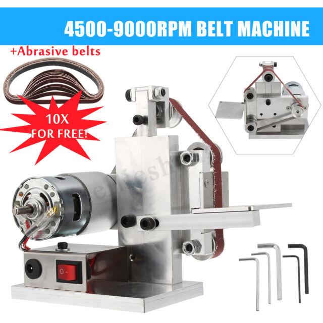 9000RPM Sander Polishing Grinding Sharpening Machine Sharpener +10 Abrasive Belt