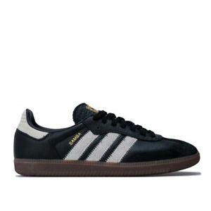 Hommes-Adidas-Originals-Samba-OG-FT-dessus-en-Cuir-a-Lacets-Baskets-En-Noir