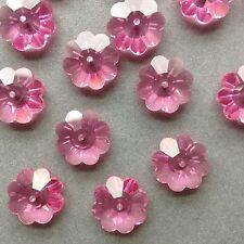 6 x 14 mm Swarovski Crystal (3700)  Flowers/Daises/Marguerites in Rose Pink