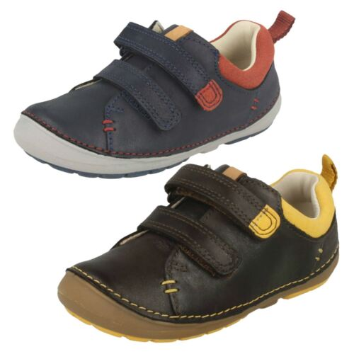 BOYS TODDLER CLARKS SOFTLY TOBY HOOK /& LOOP CASUAL FIRST WALKING SHOES SIZE