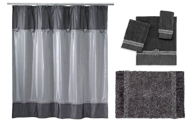 Avanti Linens Braided Medallion Shower Curtain Towel Set Rug Granite Grey