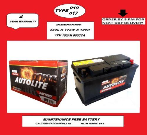 Batterie Voiture Type 019//017 100Ah 800CCA CA//CA sans entretien