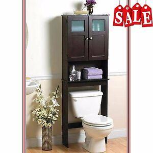 Bathroom Storage Cabinet Organizer Over The Toilet Shelf Space Saver Espresso Ebay